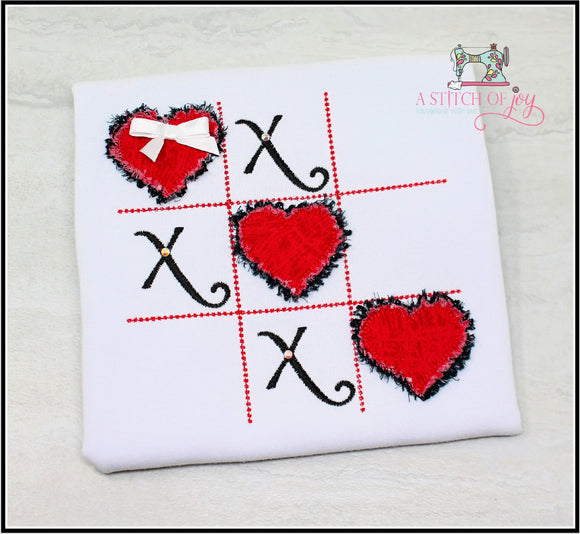 Tic-Tac-Toe Frayed Hearts
