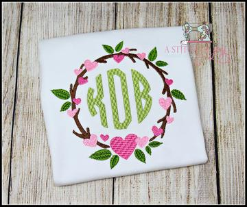 Circle Monogram with Hearts