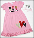 Gnome Trio with Hearts Dress