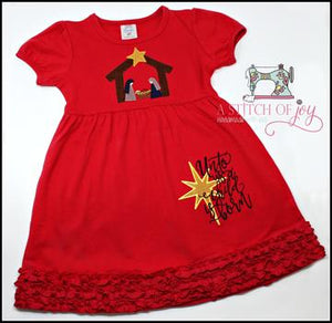 Unto Us a Child is Born Embroidered Dress