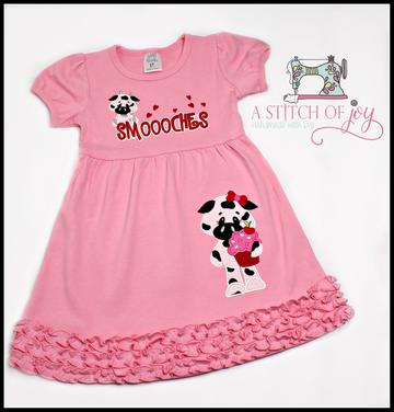 Smoooches Valentine Embroidered Dress