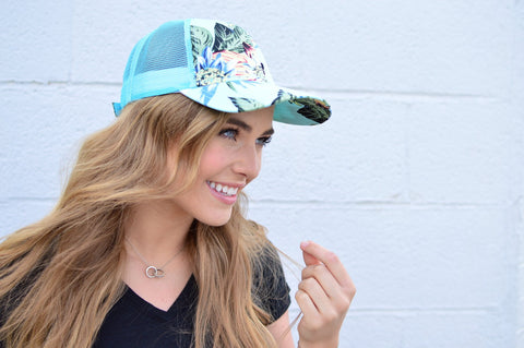 mint floral ball cap