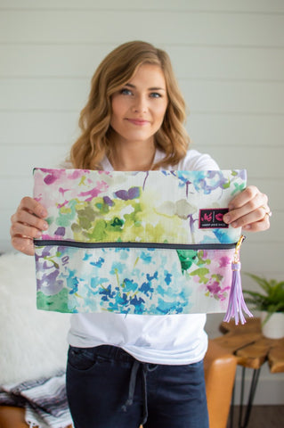 floral size large makeup junkie bag