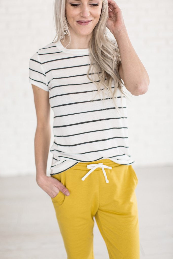 The Andee Distressed Stripe Tee - MOB Fashion Boutique