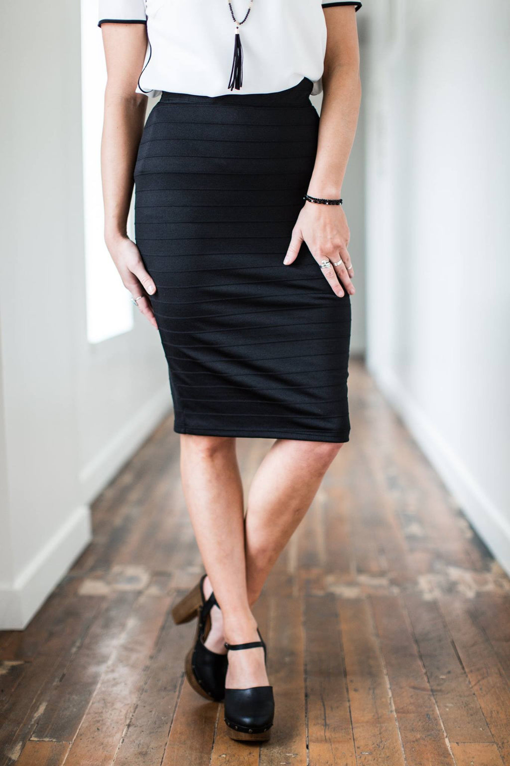 Chandler Ribbed Pencil Skirt in Black - MOB Fashion Boutique