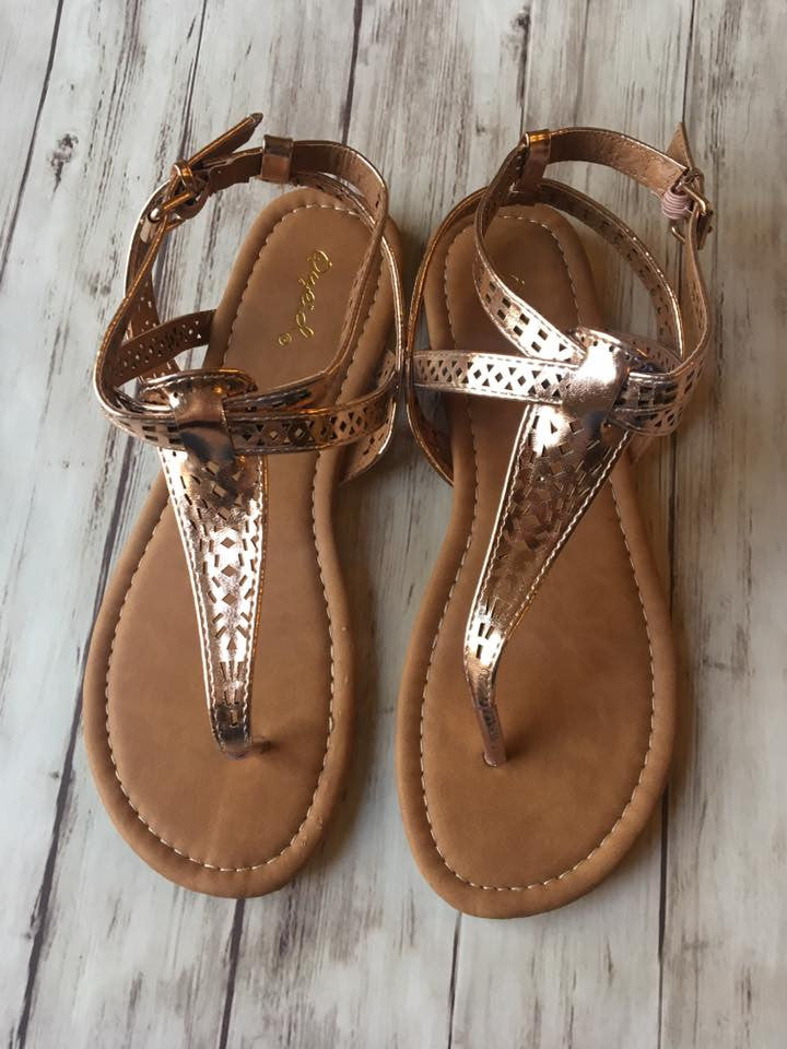 Rose Gold Gladiator Sandals - MOB Fashion Boutique