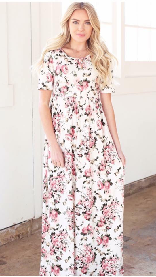 Miranda Maxi in Ivory Floral - MOB Fashion Boutique