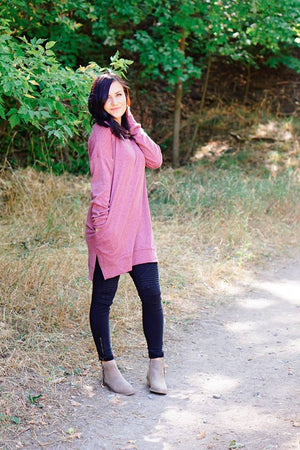 Kimmie Oversized Sweater in Merlot - MOB Fashion Boutique