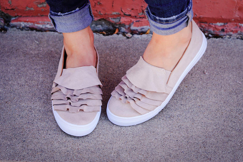 The Molly Ruffle Flats in Oatmeal - MOB Fashion Boutique