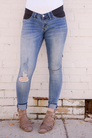 Maternity Denim in Light Distressed - MOB Fashion Boutique