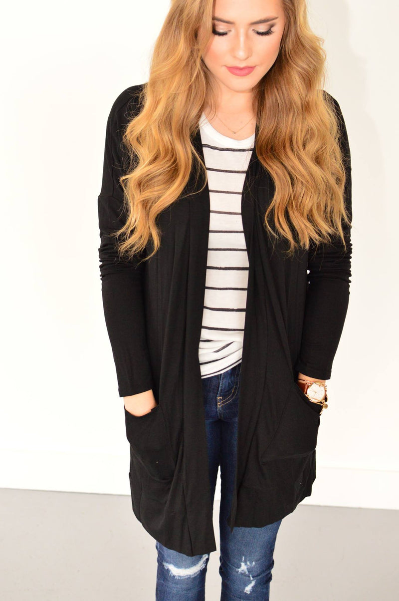 Callie Cardigan in Black - MOB Fashion Boutique