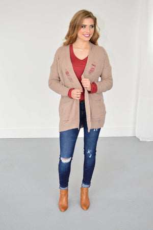 Distressed Cardi in Taupe - MOB Fashion Boutique