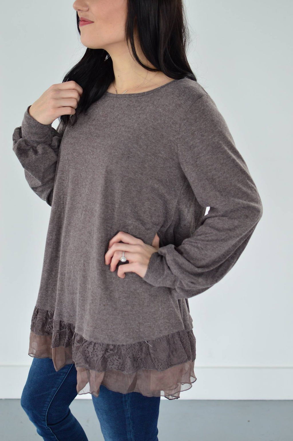 Lacey Ruffle Sweater - MOB Fashion Boutique