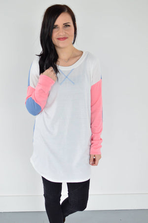Rylee Elbow Patch Top - MOB Fashion Boutique