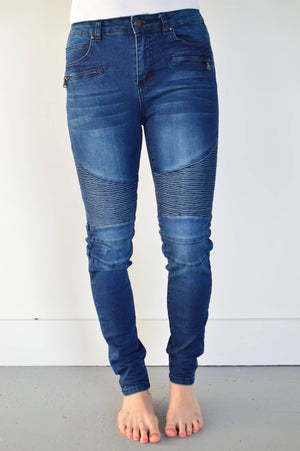 Annie Midrise Moto Denim - MOB Fashion Boutique
