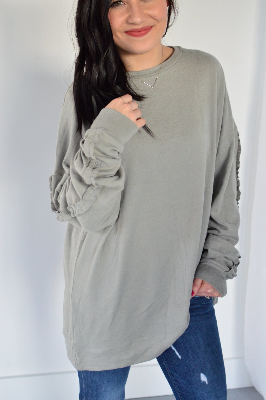 Spirit Ruffle Sleeve Sweater - MOB Fashion Boutique