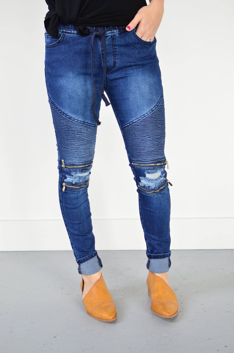 R.J. Moto Joggers | Dark Denim - MOB Fashion Boutique