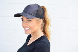 C.C. Black Glitter Trucker - MOB Fashion Boutique