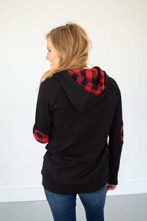 Black Buffalo Plaid Hoodie | With Nursing Option! - MOB Fashion Boutique