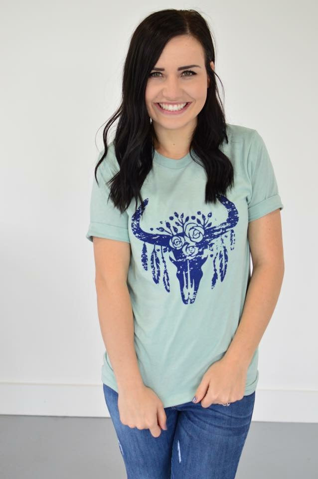 Ox Skull Tee | Dusty Blue - MOB Fashion Boutique
