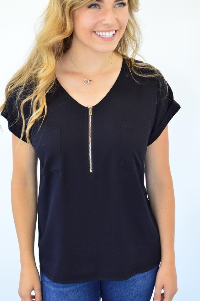 Classic Zipper Tee | Black - MOB Fashion Boutique