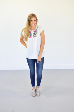 Rosebud Embroidered Top - MOB Fashion Boutique