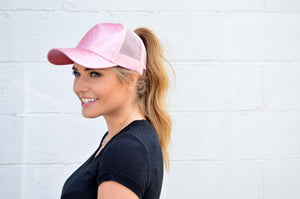 Pink Glitter Trucker Hat by C.C. - MOB Fashion Boutique