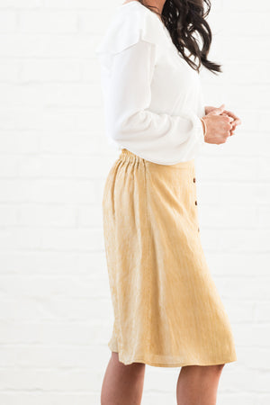 Michelle Button Down Skirt | Mustard - MOB Fashion Boutique