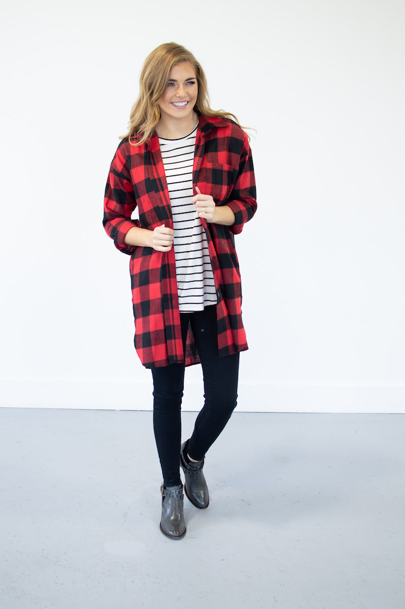 Checked Out Buffalo Plaid Duster - MOB Fashion Boutique