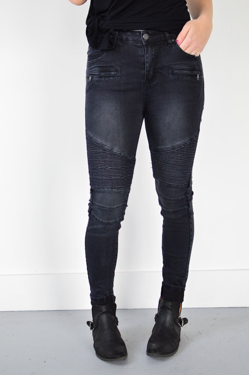Annie Moto Denim | Distressed Black - MOB Fashion Boutique