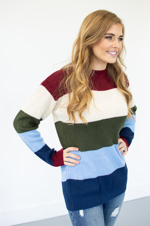 Burgundy and Ivory Color Block Stripes - MOB Fashion Boutique