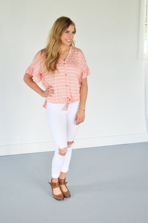 Mia Ruffle Sleeve Top - MOB Fashion Boutique