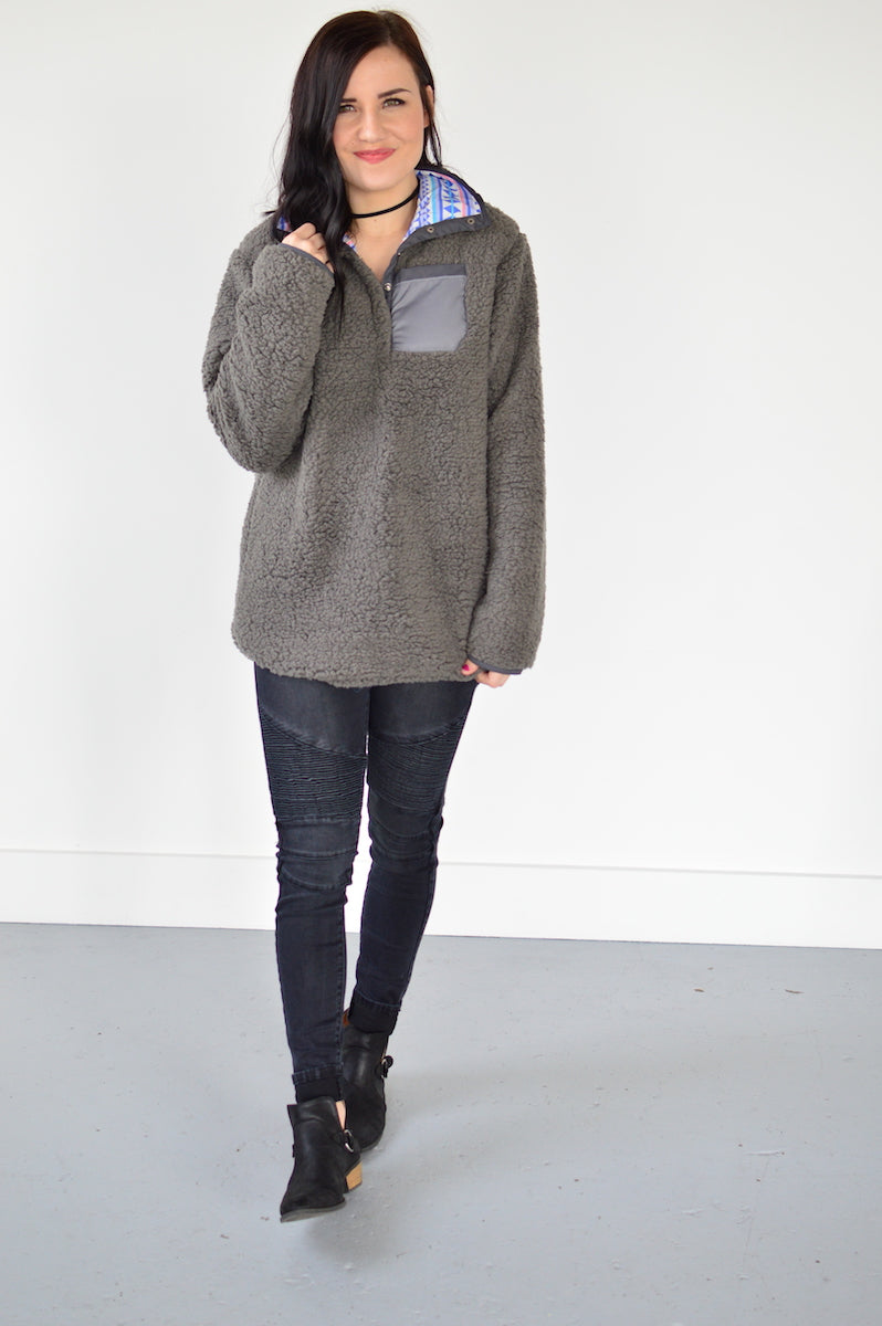 Reversible Sherpa | Charcoal - MOB Fashion Boutique
