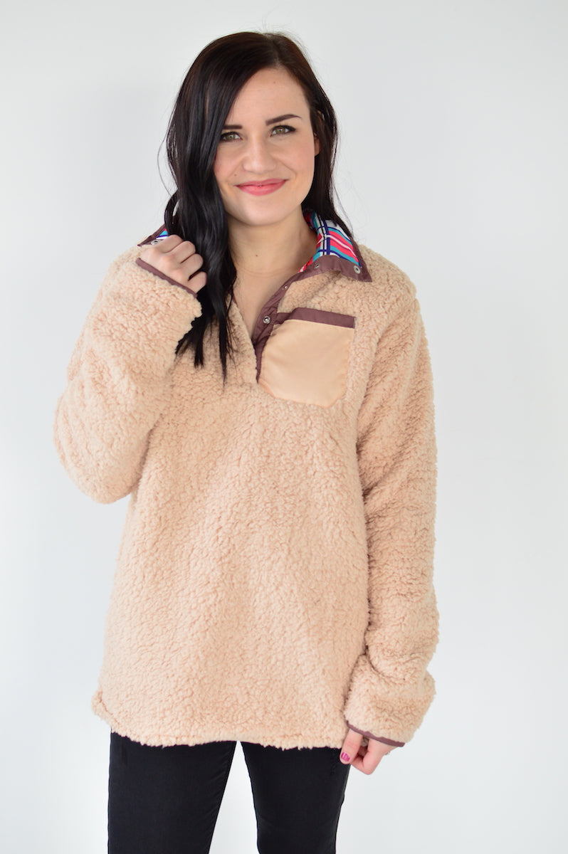 Reversible Sherpa | Oatmeal - MOB Fashion Boutique