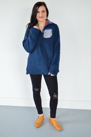 Reversible Sherpa | Navy - MOB Fashion Boutique