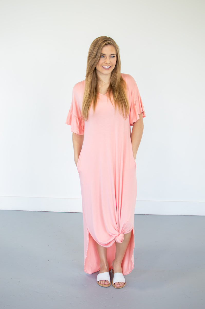 Flutter Sleeve Maxi Tee Dress | Blush - MOB Fashion Boutique
