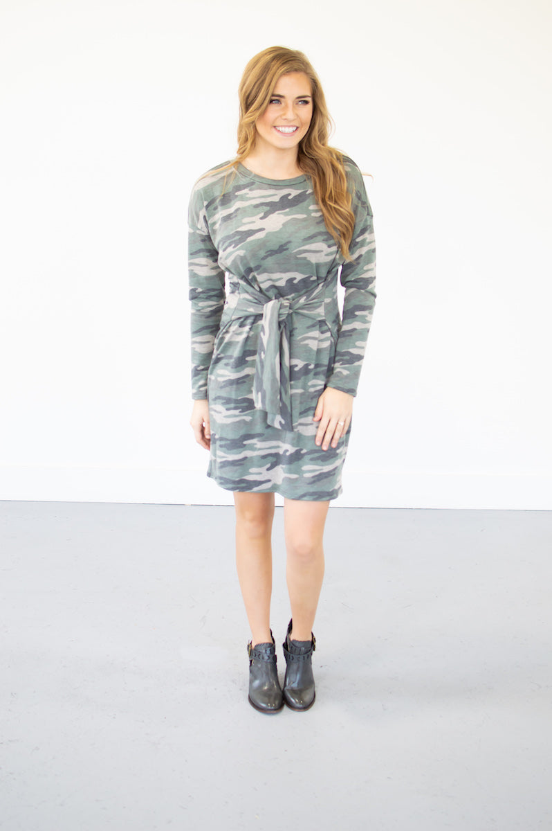 Hide Out Camo Knot Dress - MOB Fashion Boutique