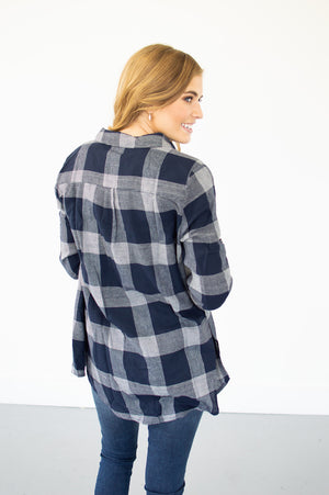 Perfectly Plaid Button Up | Navy - MOB Fashion Boutique