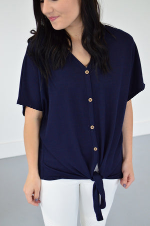 Button Down Front Knot Top | Navy - MOB Fashion Boutique