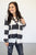 Lace Up Pullover | Black and White Stripes - MOB Fashion Boutique