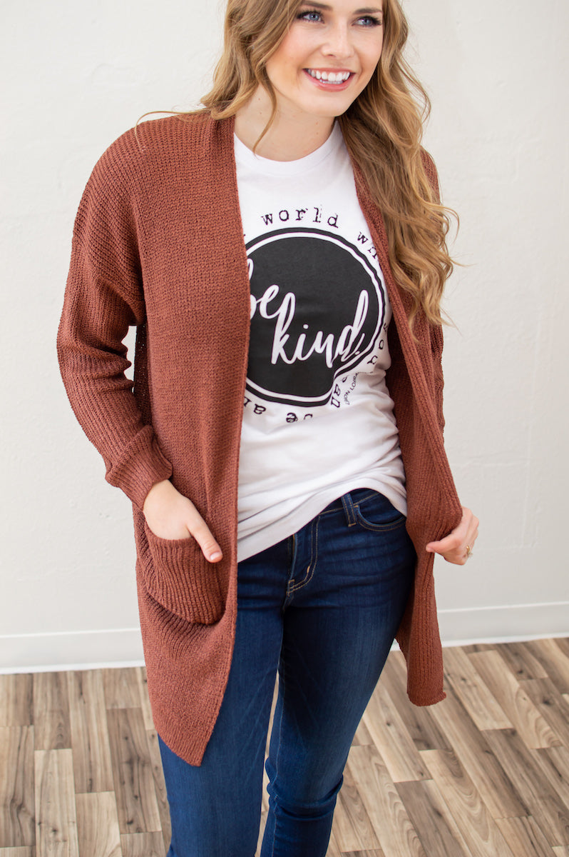 Knit Grandma Cardi | Rust - MOB Fashion Boutique