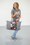 Floral and Black Striped Weekender - MOB Fashion Boutique