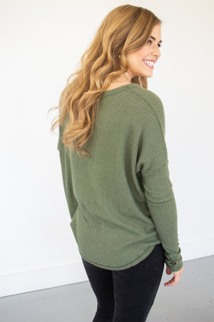 Waffle Knit Button Down Top | Olive - MOB Fashion Boutique