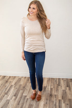 Subtle Ruffles Top | Oatmeal - MOB Fashion Boutique