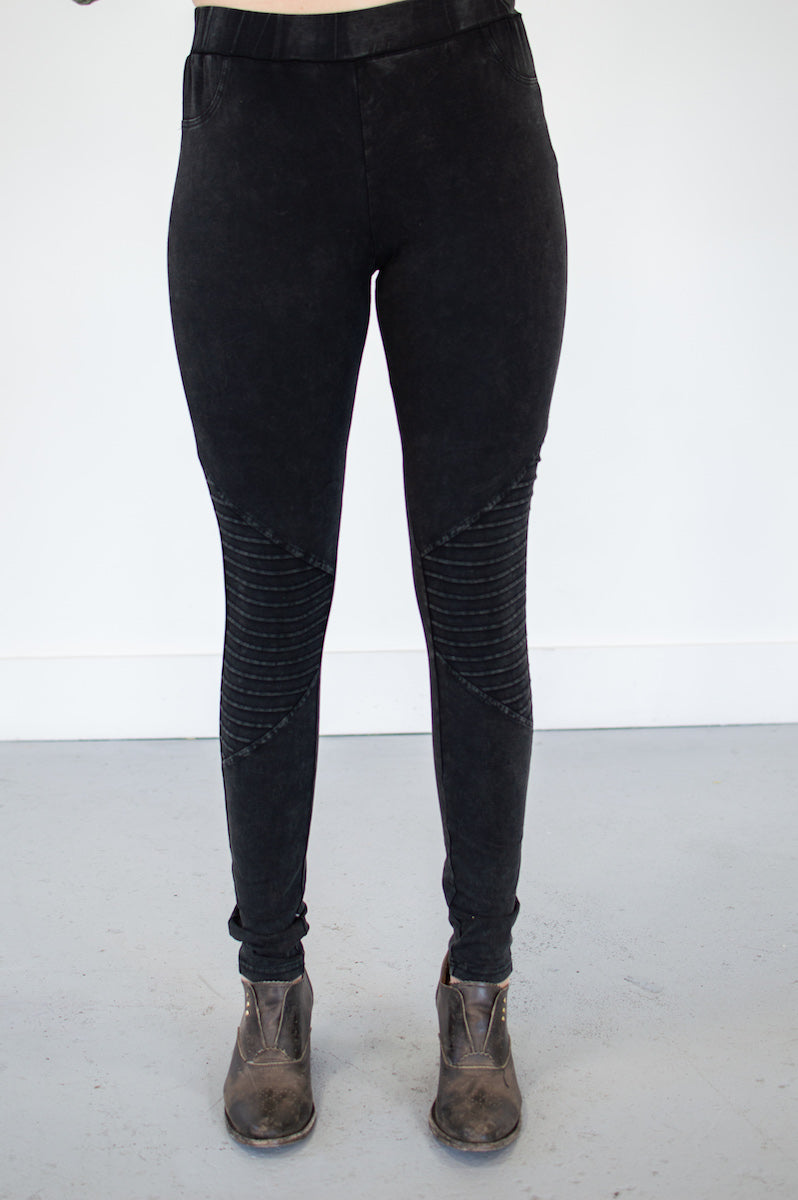 Ultra Soft Moto Leggings | Washed Black