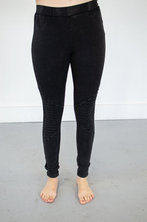 Ultra Soft Moto Leggings | Washed Black - MOB Fashion Boutique
