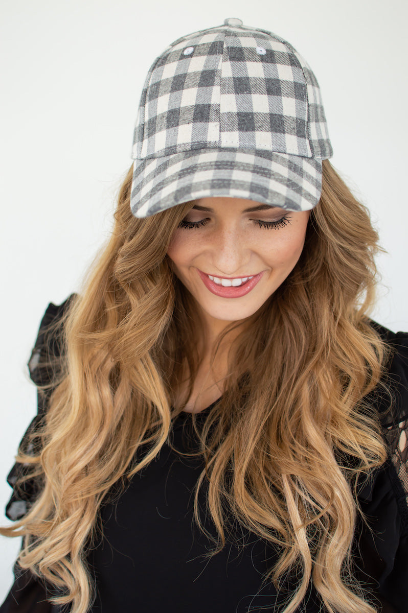 Charcoal Plaid Cap - MOB Fashion Boutique