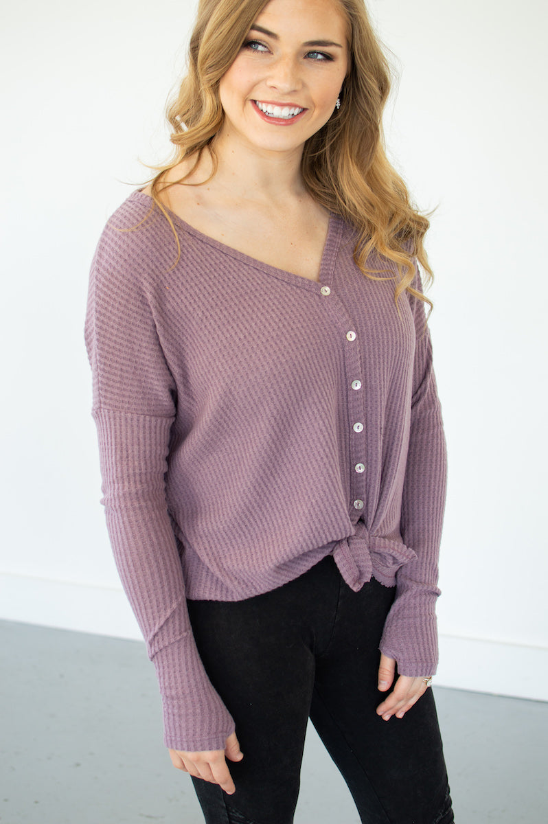 Waffle Knit Button Down Top | Dusty Lilac - MOB Fashion Boutique