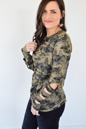 Camo Ladder Sleeve Top - MOB Fashion Boutique