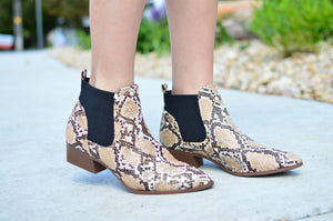 Snakeskin Booties - MOB Fashion Boutique
